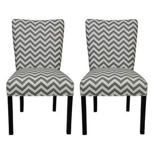 SOLE Designs Julia Collection Dining Chairs, A Set of 2 Upholstered Modern Dining Room Chairs, Side Chair Zig Zag Pattern