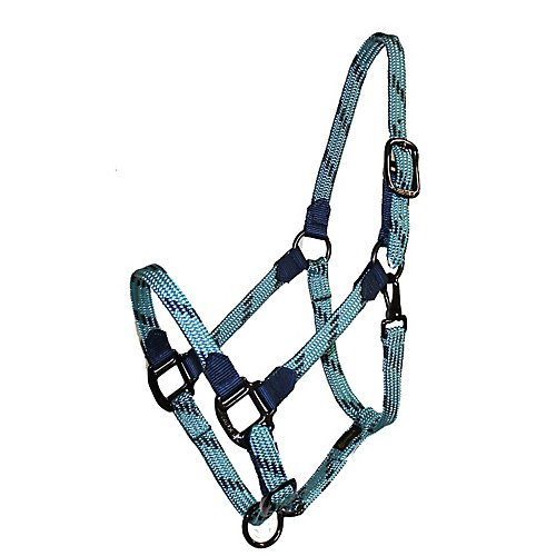 Triple E Soft Braid Adj Halter Horse Turq/Navy