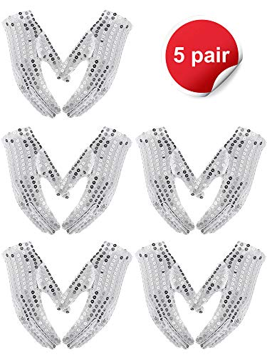Norme 5 Pairs Child Costume Sequin Gloves Silver Glitter Gloves Dress up Dance Gloves Ice Skating Gloves for Party