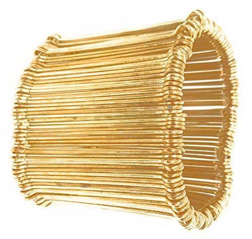 mpunk Cotter Pin Gold-Plate Stretch Cuff Bracelet (Flex Outlet Plate)