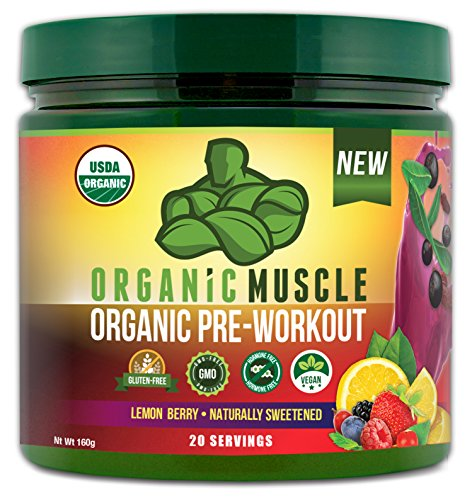 ORGANIC MUSCLE #1 Rated Organic Pre Workout Powder-Natural Vegan Keto Pre-Workout & Organic Energy Supplement for Men & Women- Non-GMO, Paleo, Gluten Free, Plant Based -Lemon Berry -160g (Best Pre Workout Energy Drink For Women)