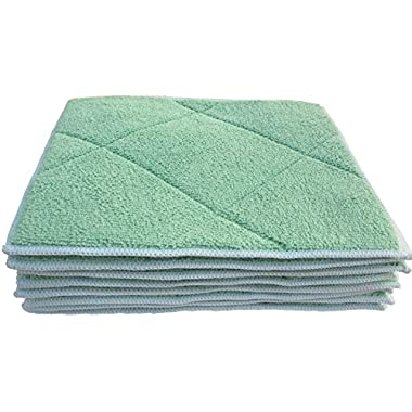 No Odor, Super Absorbent Dandelion Dish Cloths with Sponge Pad | High Quality Microfiber & Bamboo Blend Dishcloths Towels for Home, Kitchen (green, 9.8x7.8 Inch, 8 Pack)