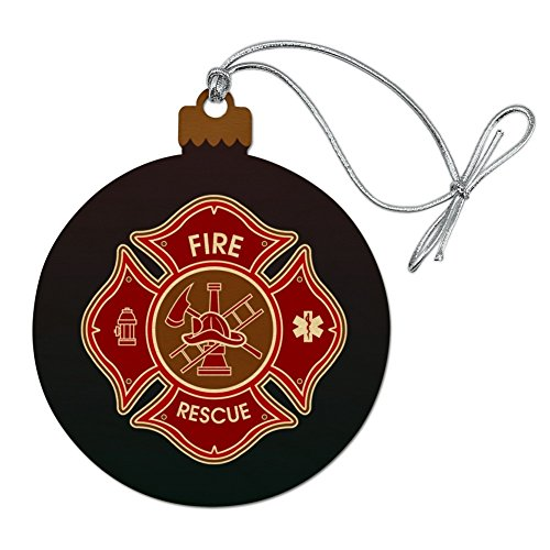 GRAPHICS & MORE Firefighter Fire Rescue Maltese Cross Wood Christmas Tree Holiday Ornament
