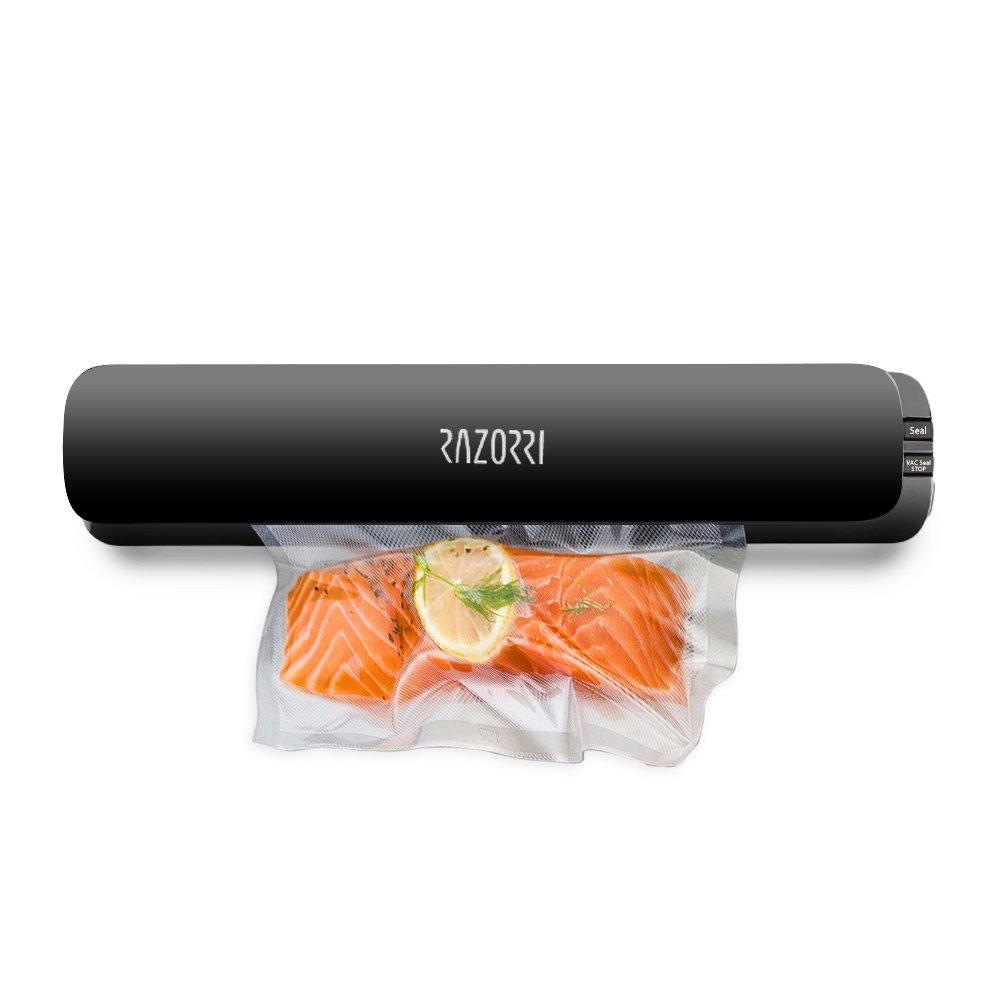 Razorri E1800-C Vacuum Sealer Machine Automatic Vacuum Sealing System for food savers & Sous Vide with Free 5 Starter Kit Vacuum Bags, Super Slim Food Sealer Food Preservation, 110V