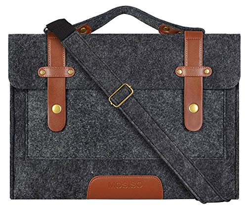 MOSISO Felt Laptop Shoulder Bag Compatible 15 Inch New MacBook Pro with Touch Bar A1990 & A1707 2018 2017 2016, Also Fit 14 Inch Ultrabook, Briefcase Carrying Handbag Sleeve Case Cover, Black
