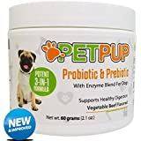 PetPup Probiotics and Prebiotics for Dogs with Digestive Enzymes Powder Supplement for Dogs That Helps with Diarrhea, Gas, Bloating, Allergies, Itchy Skin, Bad Breath Relief, Flora Support & More