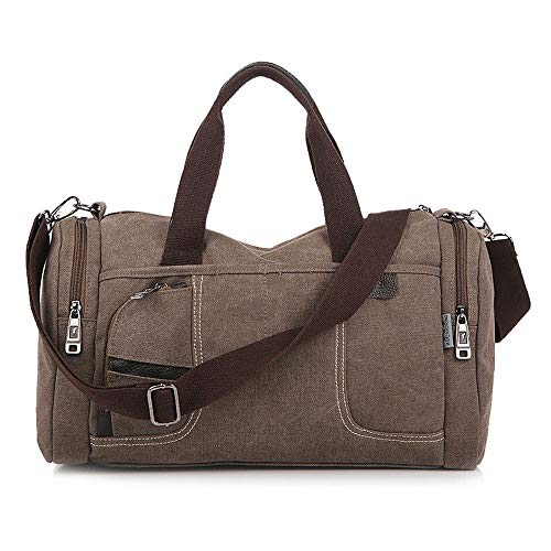 Grtodnz Large Capacity Canvas Holdall Weekend Travel Duffel Bag Outdoor Travel Bag Backpack Messenger Shoulder Bags,Brown