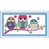 CaptainCrafts New Cross Stitch Kits Patterns Embroidery Kit - Cartoon Owl (STAMPED)
