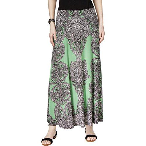 INC Womens Matte Jersey Paisley Maxi Skirt Green L