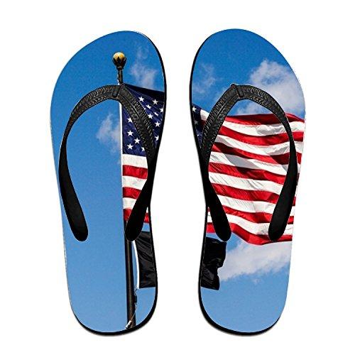 Michael Trollpoe American Flag Soldier Flip Flops Funny Sandy Flat Thong Sandals Slipper Mat for Men - American Soldier Shoes
