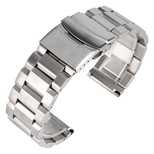 22mm Solid Stainless Steel Watch Band Silver Bracelet Strap Replacement For Men (Gents Steel Bracelet Watch)