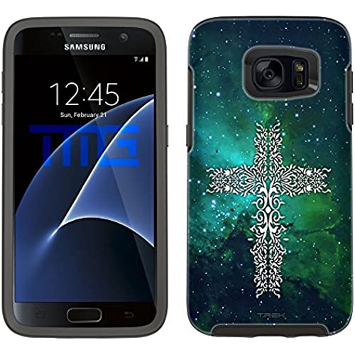 Skin Decal for Otterbox Symmetry Samsung Galaxy S7 Edge Case - Tribal Cross on Nebula Green Sales