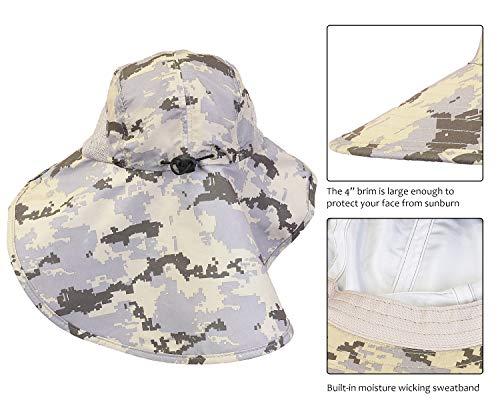 54e2a5e5e Tirrinia Camo Mens Sun Hat Wide Brim Safari Hunting Military Jungle ...