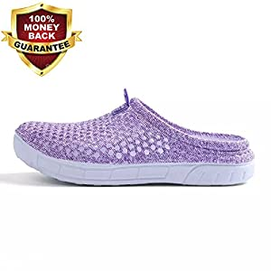 BADIER Women Mesh Summer Breathable Slippers Beach Garden Clog Sandals Shower Footwear Water Shoes Walking Anti-Slip Shoes Purple 39