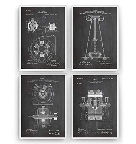 Tesla Patent Prints Art - Set Of 4 - Engineering Gift Engineer Science Vintage Blueprint Wall Poster - Frame Not Included