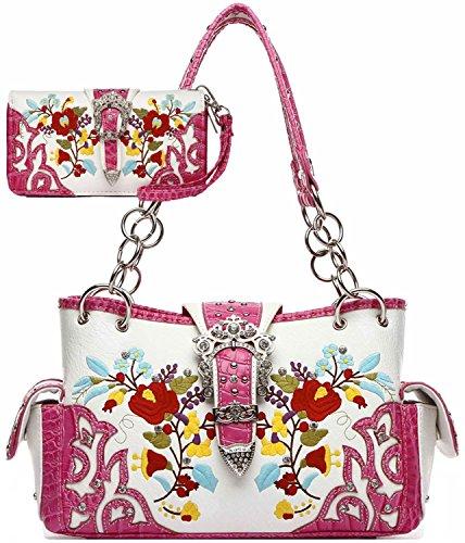 1.75' Flower (Embroidery Flower Rhinestone Studded Buckle Purse Western Handbags Totes Shoulder Bags Wallet Set Fuchsia)