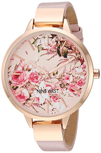 Nine West Women's NW/2176RGPK Rose Gold-Tone and Pink Strap Watch ()