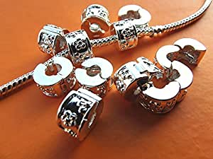 ORLEI 10pcs Mixed Silver Plated Clip Lock Stopper Bead Charms for Bracelet Necklace DIY Jewelry Making