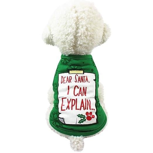 5c64317c94b Elogoog Pet Clothes Letters Dear Santa i can Explain Print T-Shirt  Christmas Cat Dog Costume Pet Puppy Clothes