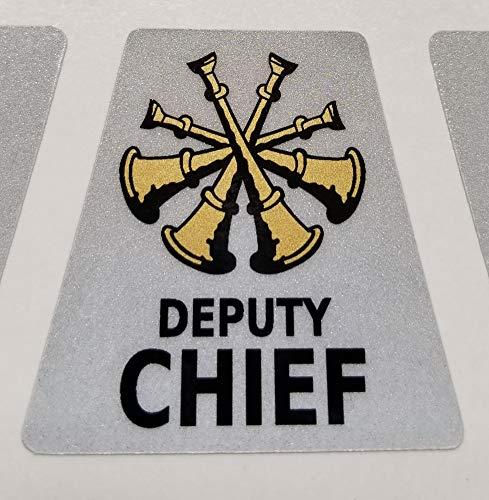(High Performance Vinyl Graphics LLC Reflective Deputy Chief Firefighter Rank Helmet Decal Tetrahedron with Gold Metallic)