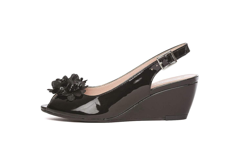 Cipriata LEANA Ladies Womens Formal Peep Toe Patent Wedge Heel Sandals Black