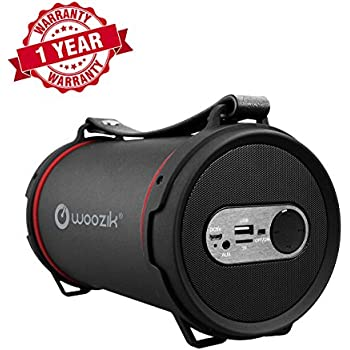 Woozik S22B Wireless Speaker, Outdoor/Indoor Boombox with FM Radio, Built-in Powerbank, SD Card Slot, and Carrying Strap