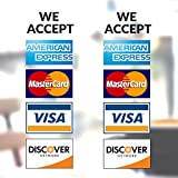 Clear Credit Card Vinyl Sticker Decal - 2 Pack - We Accept - Visa, MasterCard, Amex and Discover - 9' x 4' Vinyl Decal for Window - Shop, Cafe, Office, Restaurant ...