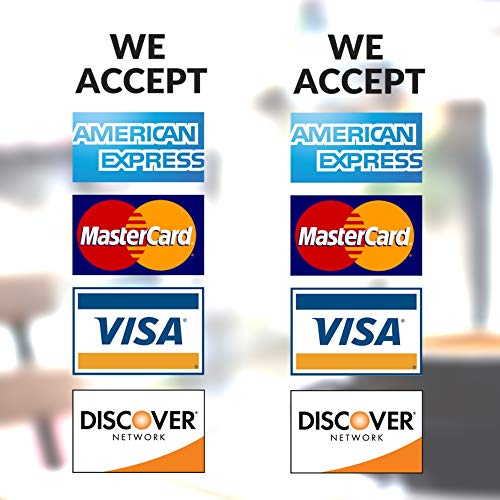 Clear Credit Card Vinyl Sticker Decal - 2 Pack - We Accept - Visa, MasterCard, Amex and Discover - 9