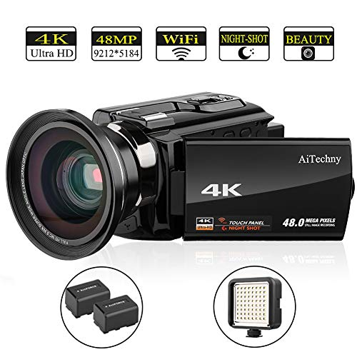 Video Camera, 4K Camcorder AiTechny Ultra HD Digital WiFi Camera 48MP 16X Digital Zoom Recorder WiFi Camera 3.0″ Touch Screen IR Night Vision with Wide Angle Lens, LED Video Light, and 2 Batteries