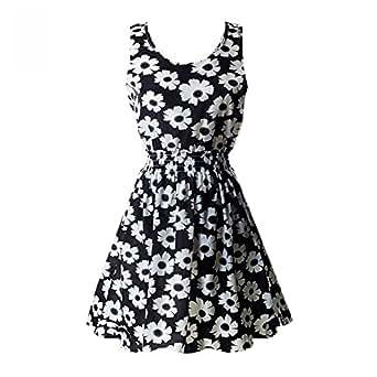 ROPALIA Womens Sexy Chiffon Sleeveless Sundress Beach Floral Mini Dress A1 M