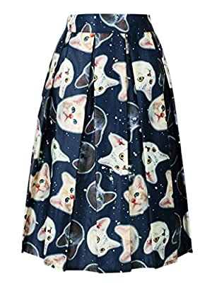 Persun Women Cute Cartoon Cat Print High Waist Skater Midi Skirt