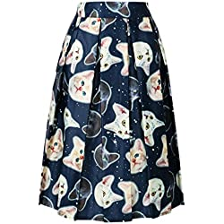 Persun Women Navy Cute Cartoon Cat Print High Waist Skater Midi Skirt , Navy, One Size