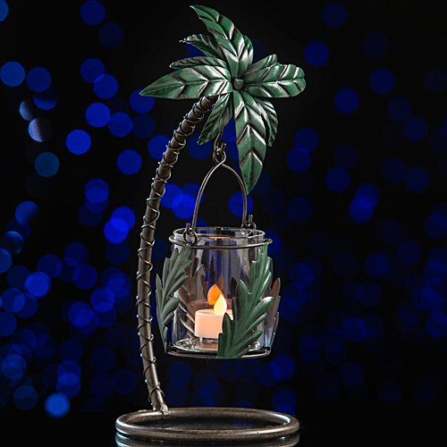 Metal Tropical Luau Summer Palm Tree Candle Holder Party Supplies -