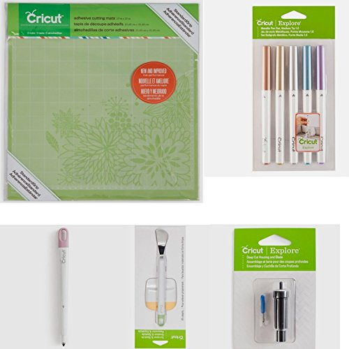 Cricut Set Of 5 | Cutting mats, Pen Set, Scoring Stylus, Scraper and Spatula, Deep Cut Blade by Cricut laboratories