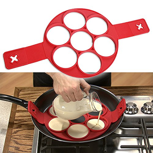 High-Season Pancake Maker Nonstick Cooking Tool Egg Ring Maker Pancakes Cheese Egg Cooker Pan Flip Eggs Mold Kitchen Baking Accessories (7hole)