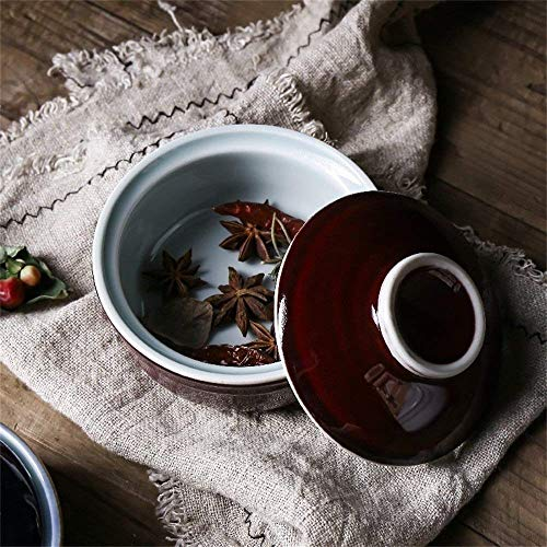 (XXJ-Bowls Japanese Style Tureen Baking Bowl Retro Rice Steamed Egg Stewed Bowl Ceramic Soup Noodle Bowl With Lid)