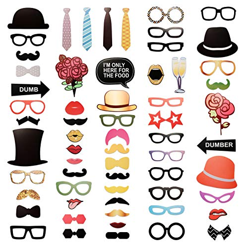 Photo Booth For Parties Diy (SIMBAD DIY Photo Booth Props | Birthday Party Selfies, Weddings, Graduations (63 PCS) | All Will Enjoy Hats, Mustaches,)