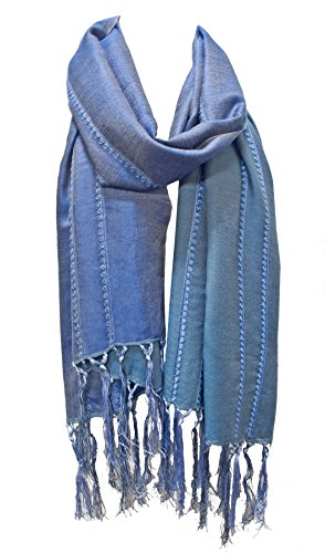 Silk Wool & Cashmere Stole Scarf Wrap Shawl with Hand Knotted Fringe Blue Turquoise