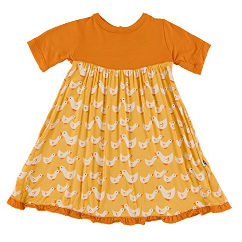 KicKee Pants Little Girls Solid Short Sleeve Swing Dress with Keyhole & Button Closure, Fuzzy Bee Ducks, 3T
