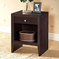 Leelanau Brown Modern Nightstand Dark Brown Faux Wood Grain Paper Veneer