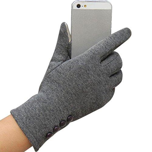 Winhurn Winter Warm Stylish Women Touch Screen Gloves for Outdoor Sport (Grey) - Prime Training Gloves 16 Oz Grey