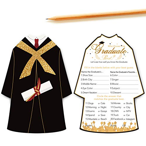 Graduation Party Game Cards,Who Knows the Graduate Best,Graduation Party Games Ideas,Grad Celebration Supplies,5 x 7 Inches,Set of 30 (Academic Dress Shape) -