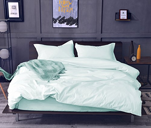 Aqua King Duvet - SWEET LINEN 3 Piece Duvet Cover Set 100% Cotton 1 Duvet Cover, 2 Pillow Shams Smooth and Hypoallergenic, Hotel Luxury Bedding Set (Aqua, King)