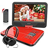 WONNIE 10.1 inch Portable DVD Player CD Player with Backpack & Earphone, Swivel Screen Remote Control 5 Hours Rechargeable Battery AC Adapter Car Charger, Mini DVD Player, Support USB/SD Slot (Red)