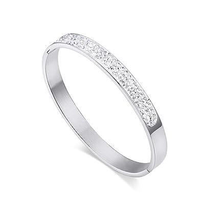 Bracelet avec strass brillant sur le dessus et pierre Oxyde de Zirconium