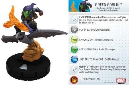 Weapons Green Goblin - Wizkids Heroclix Marvel 10th Anniversary #18 Green Goblin Figure with Card