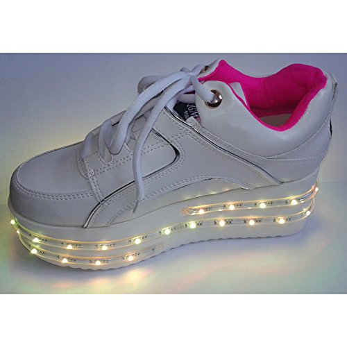 ACEVER Sports LED Shoes LED Sneakers Flashing Light Up Shoes (US7-Women)