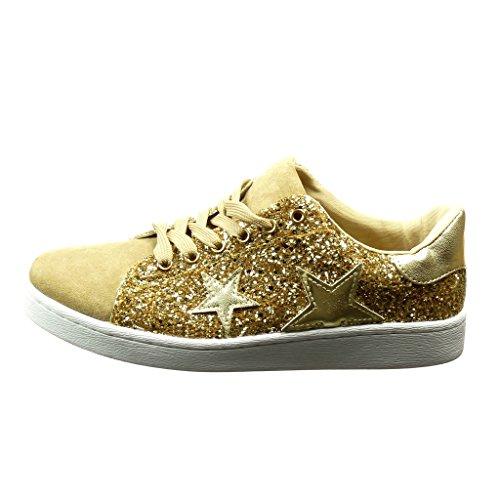 Or Mode matière Chaussure Etoile Tennis Cm Angkorly 2 Femme Diamant Baskets Talon Bi Plat Strass 6q5ZzdXwx