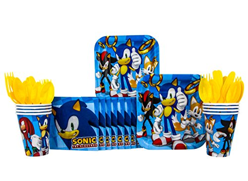 B-THERE Sonic The Hedgehog Party Pack Seats 8 - Napkins, Plates, Cups, Cutlery - Sonic The Hedgehog Party Supplies, Standard Party Pack