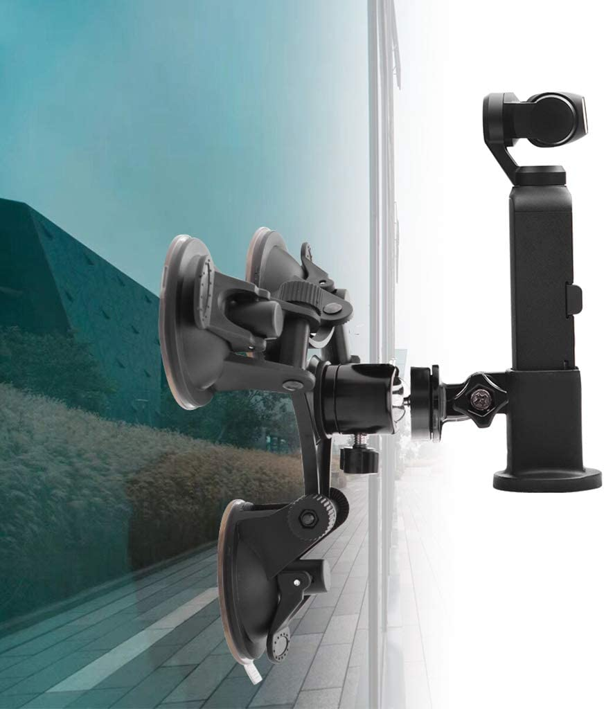 Car Triple Suction Cup Mount with 360 Degree Tripod Ball-Head Adapter 1//4inch Universal Adapter and Ultra Fit Mount Adapter for DJI OSMO Pocket